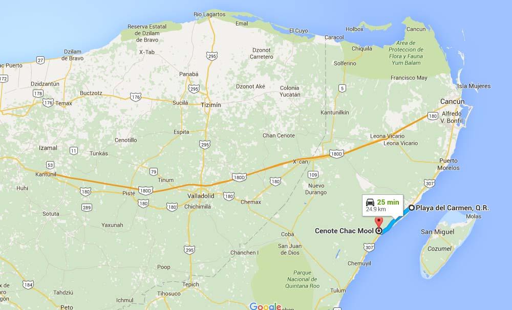 Mapa para llegar al Cenote Chac Mool - Foto Google Maps.