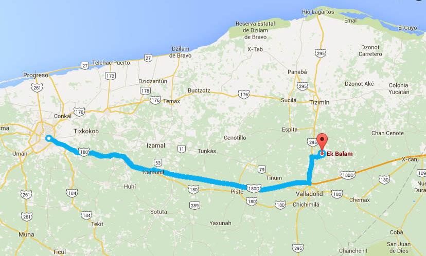Como llegar a Ek Balam - Foto de Google maps.