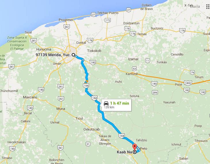 Como llegar a Kaab Na - Foto de Google maps.