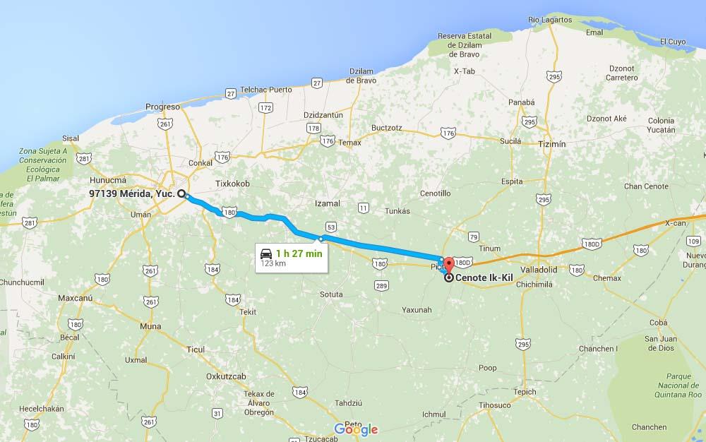 Mapa para llegar al Cenote Ik Kil - Foto Google Maps.