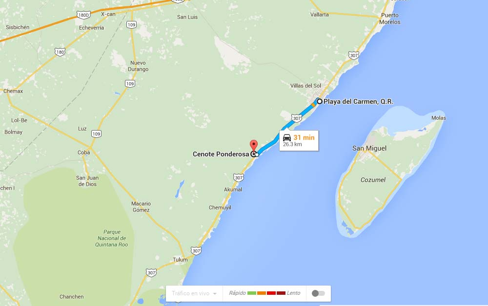 Mapa para llegar al Cenote Ponderosa- Foto Google Maps.