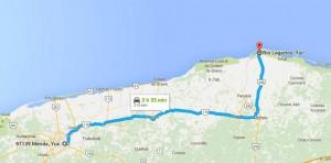 Como llegar a Río Lagartos - Foto de Google maps.