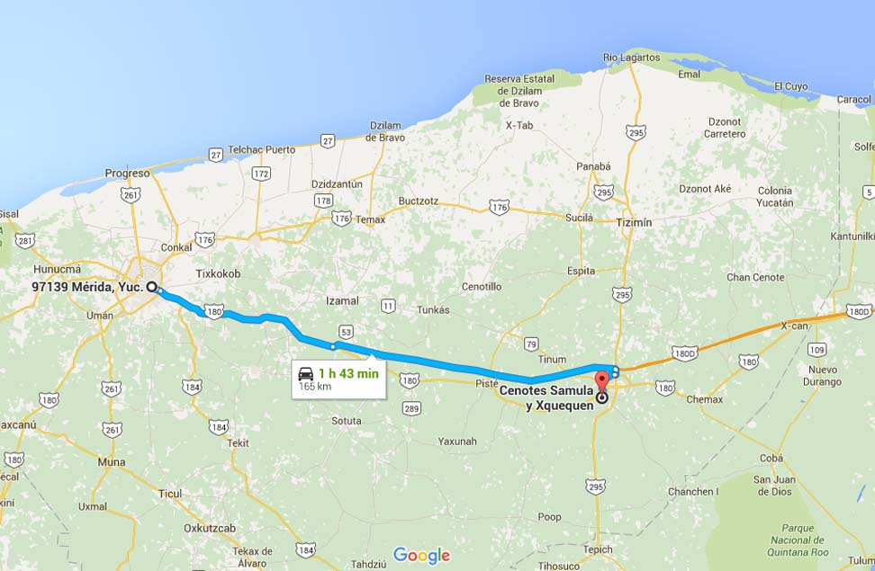 Mapa para llegar al Cenote Samula - Foto Google Maps.