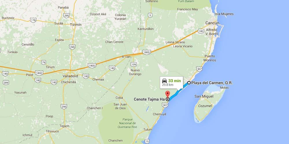 Mapa para llegar al Cenote Taj Mahal - Foto Google Maps.